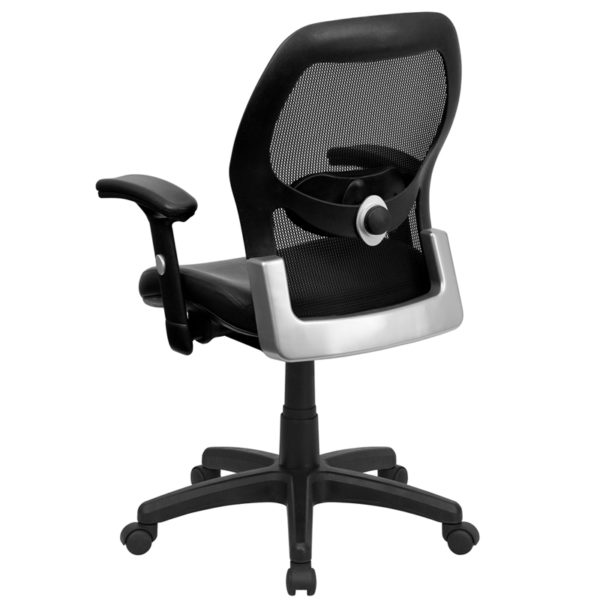 Contemporary Office Chair Black Mid-Back Leather Chair