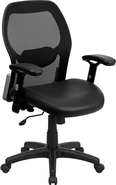Wholesale Mid-Back Black Super Mesh Executive Swivel Office Chair with Leather Seat and Adjustable Lumbar & Arms