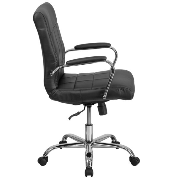 Lowest Price Mid-Back Black Vinyl Executive Swivel Office Chair with Chrome Base and Arms