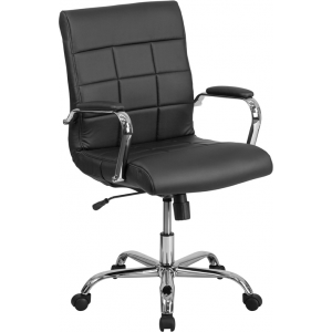 Wholesale Mid-Back Black Vinyl Executive Swivel Office Chair with Chrome Base and Arms