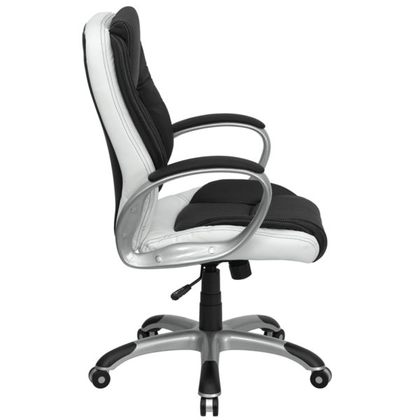 Lowest Price Mid-Back Black and White Leather Executive Swivel Office Chair with Arms