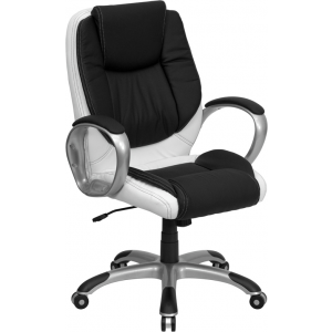 Wholesale Mid-Back Black and White Leather Executive Swivel Office Chair with Arms