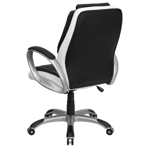 Contemporary Office Chair Black/White Mid-Back Chair