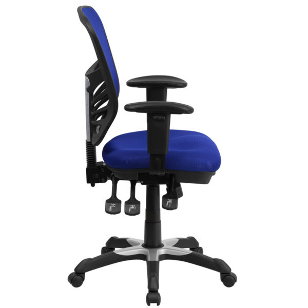 Lowest Price Mid-Back Blue Mesh Multifunction Executive Swivel Ergonomic Office Chair with Adjustable Arms