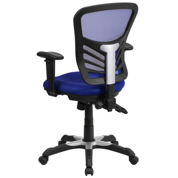 Contemporary Office Chair Blue Mid-Back Mesh Chair