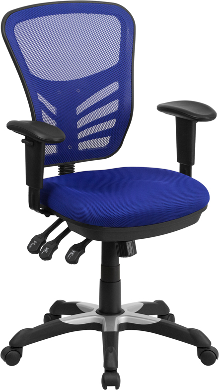 Wholesale Mid-Back Blue Mesh Multifunction Executive Swivel Ergonomic Office Chair with Adjustable Arms