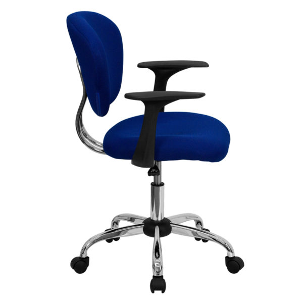 Lowest Price Mid-Back Blue Mesh Padded Swivel Task Office Chair with Chrome Base and Arms