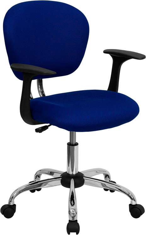 Wholesale Mid-Back Blue Mesh Padded Swivel Task Office Chair with Chrome Base and Arms