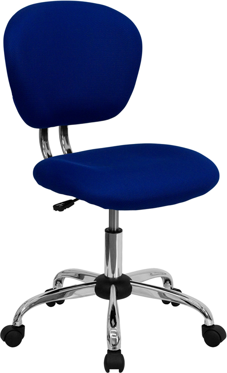 Wholesale Mid-Back Blue Mesh Padded Swivel Task Office Chair with Chrome Base