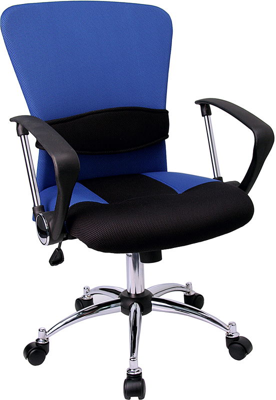 Wholesale Mid-Back Blue Mesh Swivel Task Office Chair with Adjustable Lumbar Support and Arms