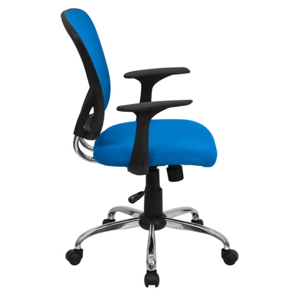 Lowest Price Mid-Back Blue Mesh Swivel Task Office Chair with Chrome Base and Arms