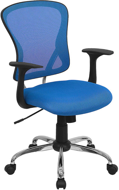 Wholesale Mid-Back Blue Mesh Swivel Task Office Chair with Chrome Base and Arms