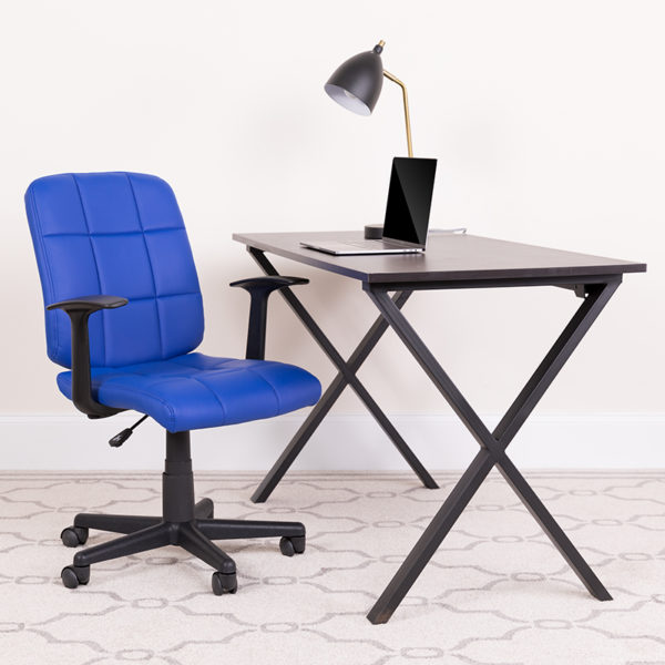 Lowest Price Mid-Back Blue Quilted Vinyl Swivel Task Office Chair with Arms