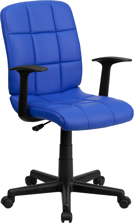 Wholesale Mid-Back Blue Quilted Vinyl Swivel Task Office Chair with Arms