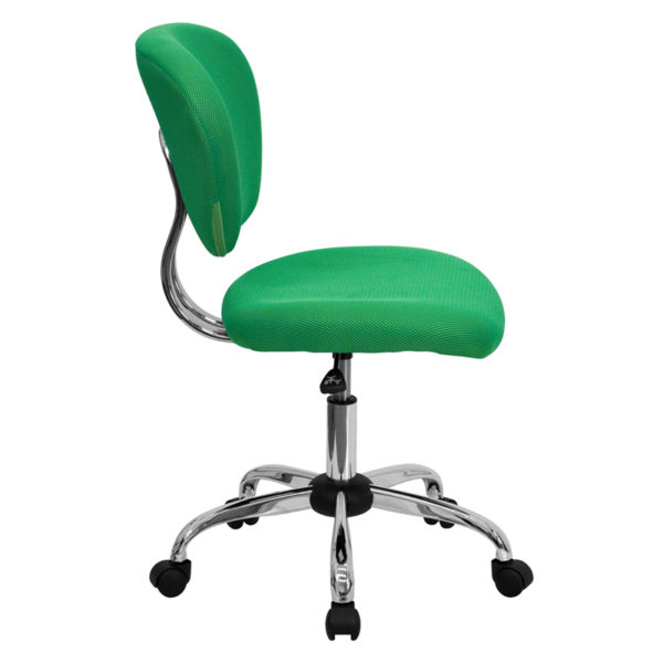 Lowest Price Mid-Back Bright Green Mesh Padded Swivel Task Office Chair with Chrome Base