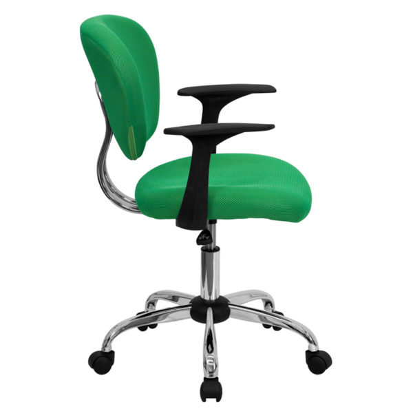 Lowest Price Mid-Back Bright Green Mesh Padded Swivel Task Office Chair with Chrome Base and Arms