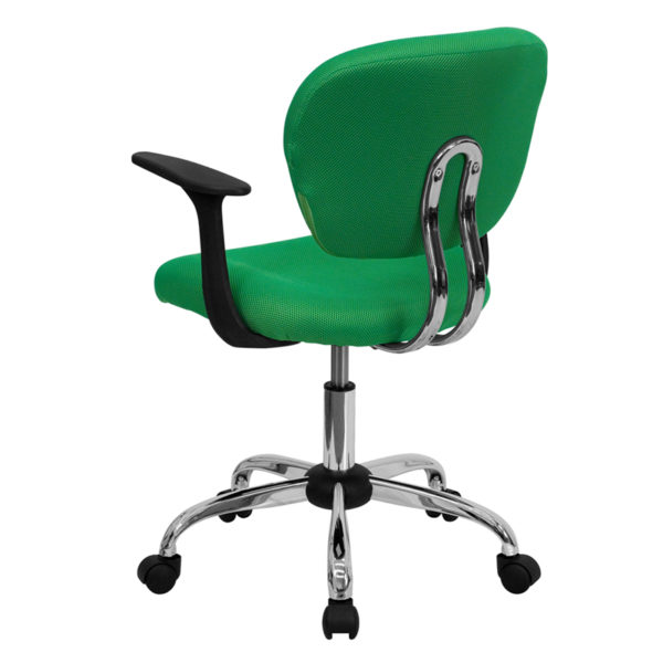 Contemporary Task Office Chair Bright Green Mid-Back Task