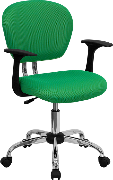 Wholesale Mid-Back Bright Green Mesh Padded Swivel Task Office Chair with Chrome Base and Arms