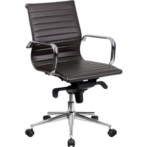 Wholesale Mid-Back Brown Ribbed Leather Swivel Conference Office Chair with Knee-Tilt Control and Arms