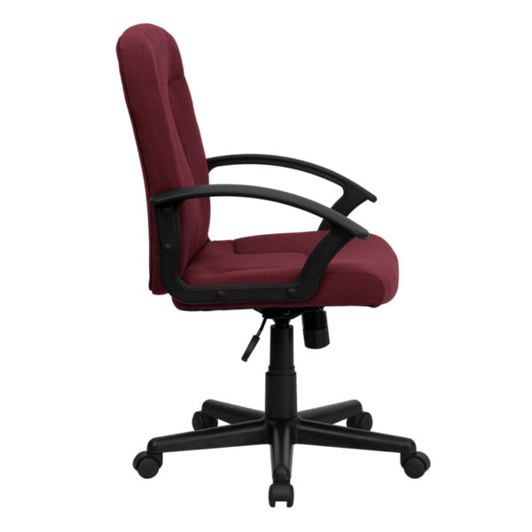 Lowest Price Mid-Back Burgundy Fabric Executive Swivel Office Chair with Nylon Arms