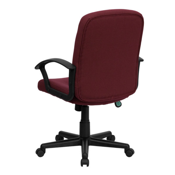 Contemporary Office Chair Burgundy Mid-Back Fabric Chair