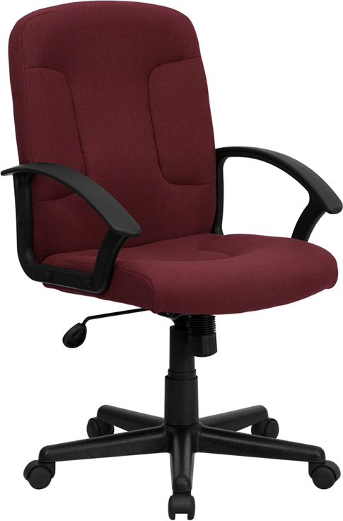 Wholesale Mid-Back Burgundy Fabric Executive Swivel Office Chair with Nylon Arms