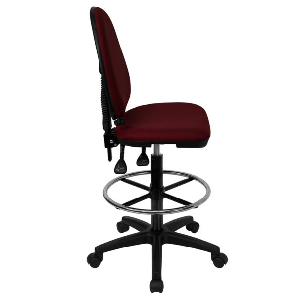 Lowest Price Mid-Back Burgundy Fabric Multifunction Ergonomic Drafting Chair with Adjustable Lumbar Support