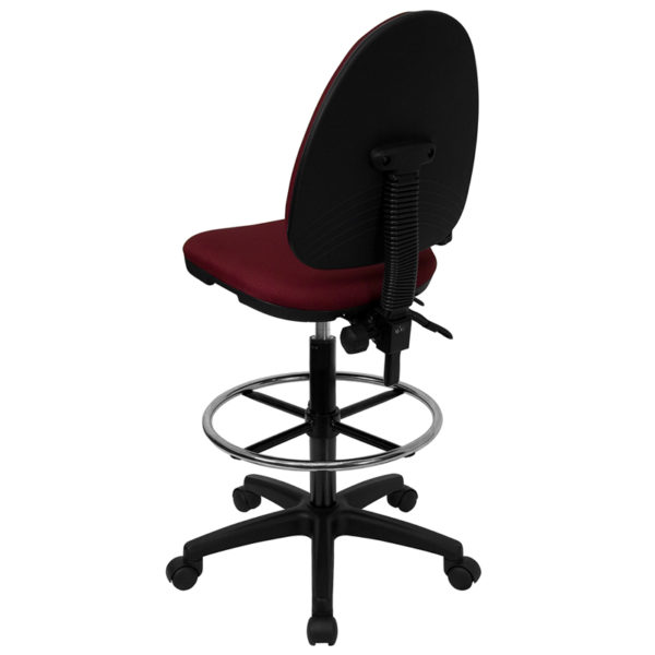 Contemporary Draft Stool Burgundy Fabric Draft Chair