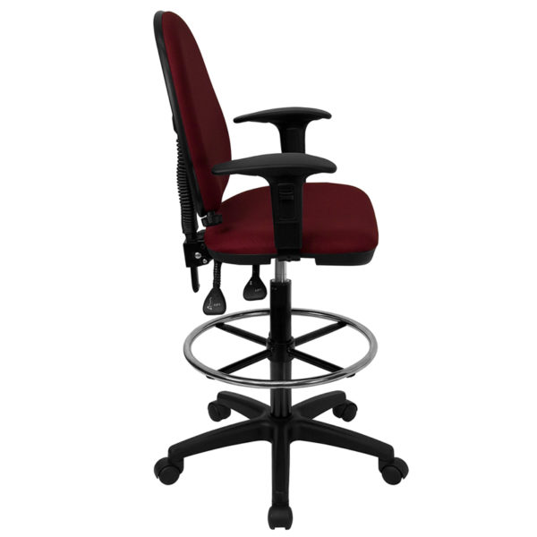 Lowest Price Mid-Back Burgundy Fabric Multifunction Ergonomic Drafting Chair with Adjustable Lumbar Support and Adjustable Arms