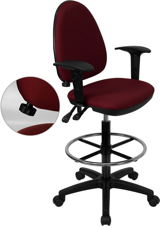 Wholesale Mid-Back Burgundy Fabric Multifunction Ergonomic Drafting Chair with Adjustable Lumbar Support and Adjustable Arms