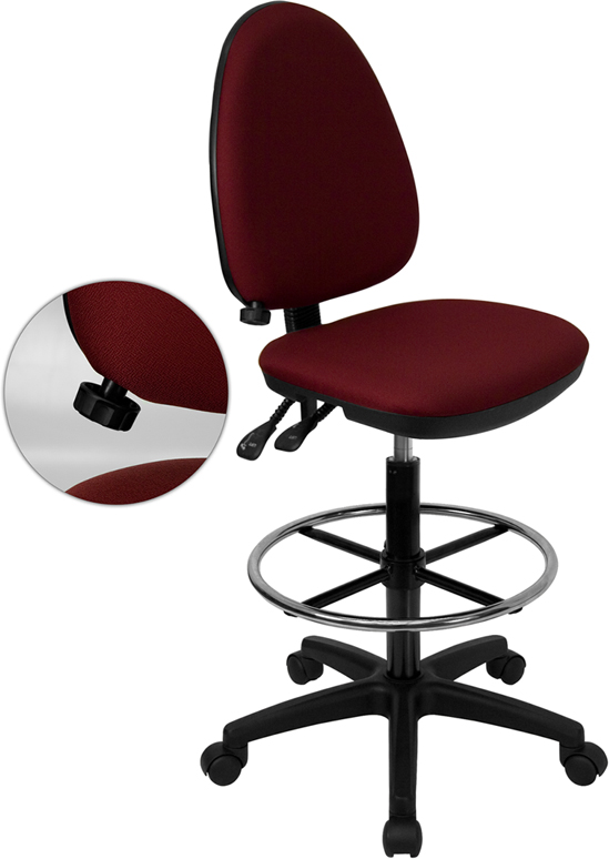 Wholesale Mid-Back Burgundy Fabric Multifunction Ergonomic Drafting Chair with Adjustable Lumbar Support