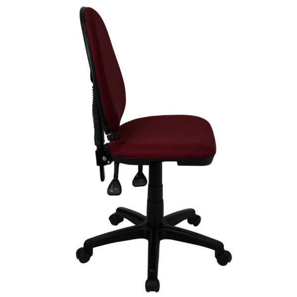 Lowest Price Mid-Back Burgundy Fabric Multifunction Swivel Ergonomic Task Office Chair with Adjustable Lumbar Support