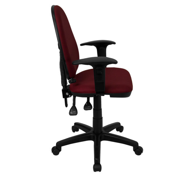 Lowest Price Mid-Back Burgundy Fabric Multifunction Swivel Ergonomic Task Office Chair with Adjustable Lumbar Support & Arms