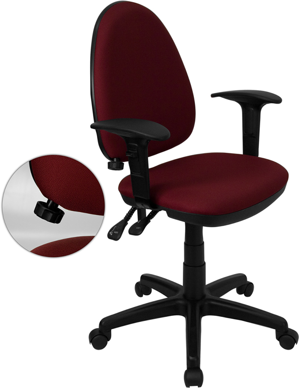 Wholesale Mid-Back Burgundy Fabric Multifunction Swivel Ergonomic Task Office Chair with Adjustable Lumbar Support & Arms