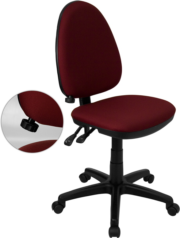Wholesale Mid-Back Burgundy Fabric Multifunction Swivel Ergonomic Task Office Chair with Adjustable Lumbar Support