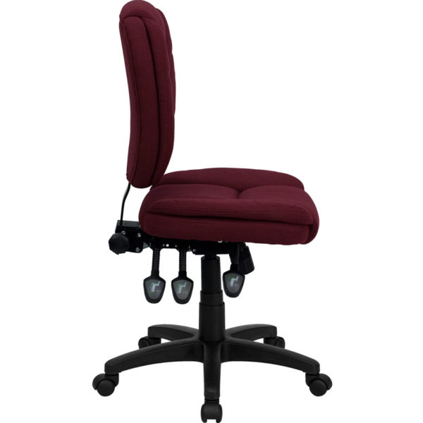 Lowest Price Mid-Back Burgundy Fabric Multifunction Swivel Ergonomic Task Office Chair with Pillow Top Cushioning
