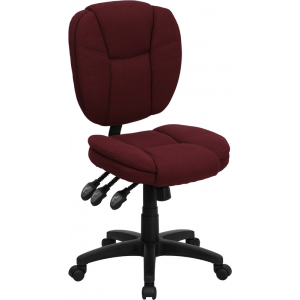 Wholesale Mid-Back Burgundy Fabric Multifunction Swivel Ergonomic Task Office Chair with Pillow Top Cushioning