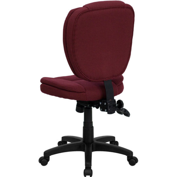 Contemporary Task Office Chair Burgundy Mid-Back Fabric Chair
