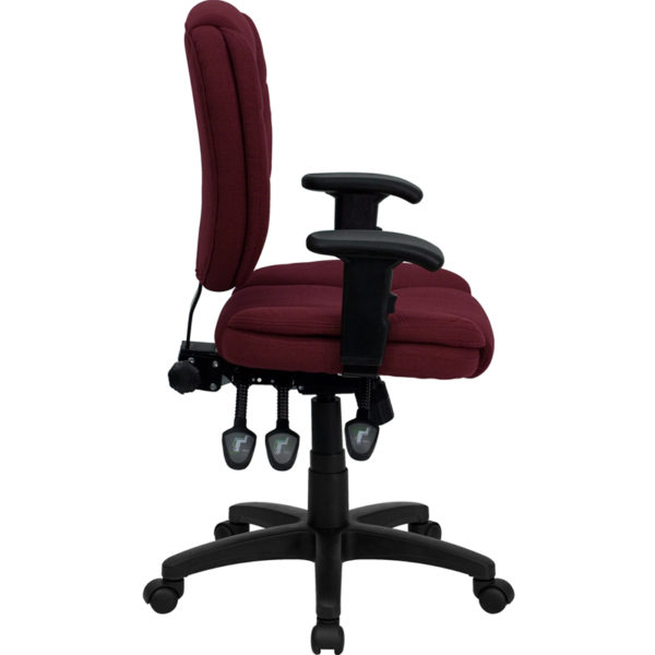 Lowest Price Mid-Back Burgundy Fabric Multifunction Swivel Ergonomic Task Office Chair with Pillow Top Cushioning and Arms