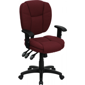 Wholesale Mid-Back Burgundy Fabric Multifunction Swivel Ergonomic Task Office Chair with Pillow Top Cushioning and Arms