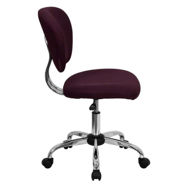 Lowest Price Mid-Back Burgundy Mesh Padded Swivel Task Office Chair with Chrome Base