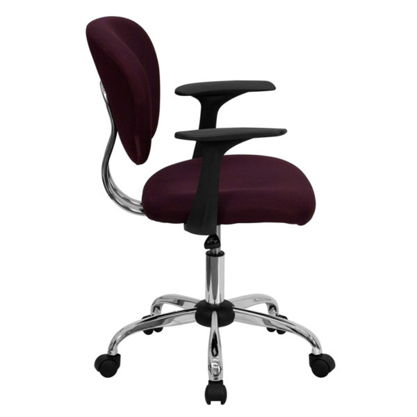 Lowest Price Mid-Back Burgundy Mesh Padded Swivel Task Office Chair with Chrome Base and Arms