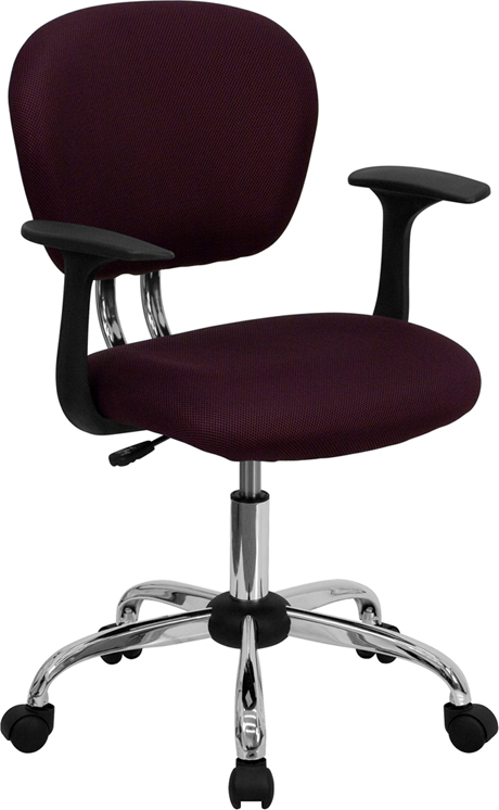 Wholesale Mid-Back Burgundy Mesh Padded Swivel Task Office Chair with Chrome Base and Arms
