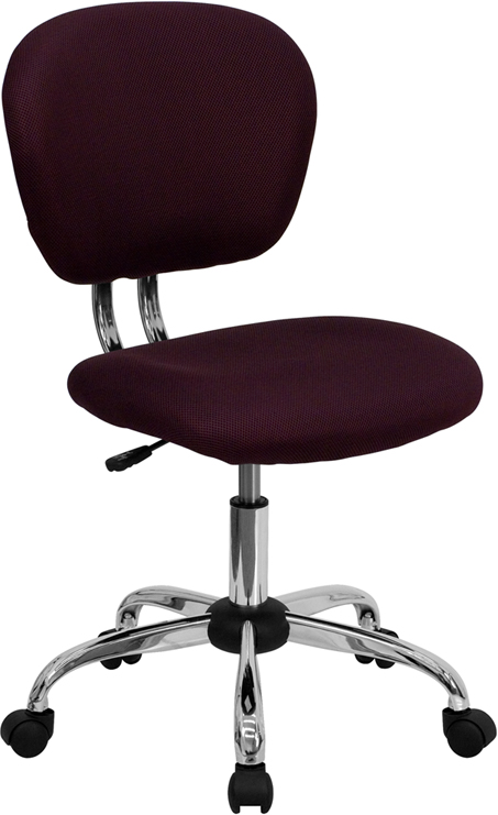 Wholesale Mid-Back Burgundy Mesh Padded Swivel Task Office Chair with Chrome Base