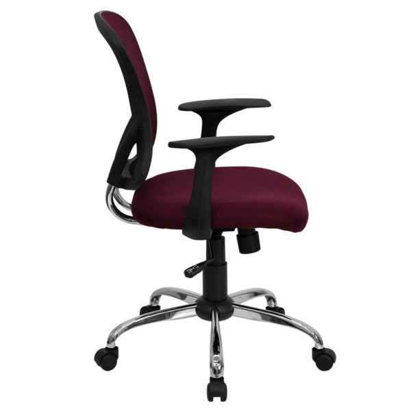 Lowest Price Mid-Back Burgundy Mesh Swivel Task Office Chair with Chrome Base and Arms