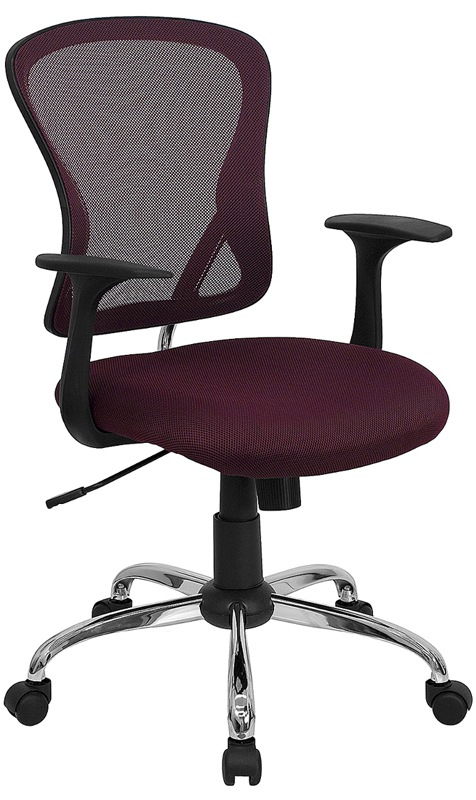 Wholesale Mid-Back Burgundy Mesh Swivel Task Office Chair with Chrome Base and Arms