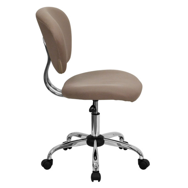 Lowest Price Mid-Back Coffee Brown Mesh Padded Swivel Task Office Chair with Chrome Base