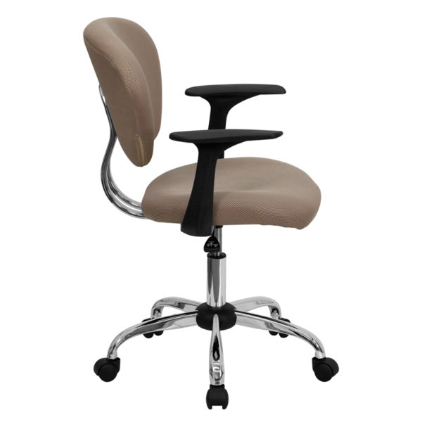 Lowest Price Mid-Back Coffee Brown Mesh Padded Swivel Task Office Chair with Chrome Base and Arms