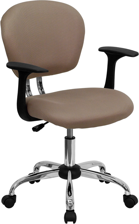 Wholesale Mid-Back Coffee Brown Mesh Padded Swivel Task Office Chair with Chrome Base and Arms