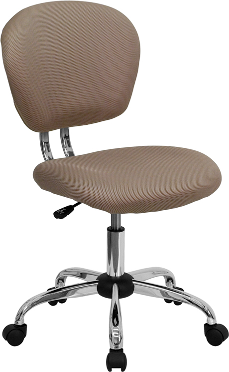 Wholesale Mid-Back Coffee Brown Mesh Padded Swivel Task Office Chair with Chrome Base
